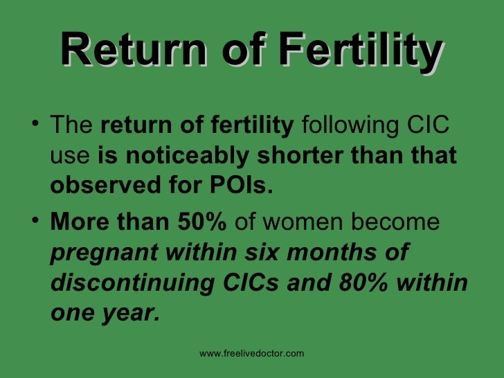 Return   of Fertility <ul><li>The  return of fertility  following CIC use  is noticeably shorter than that observed for PO...