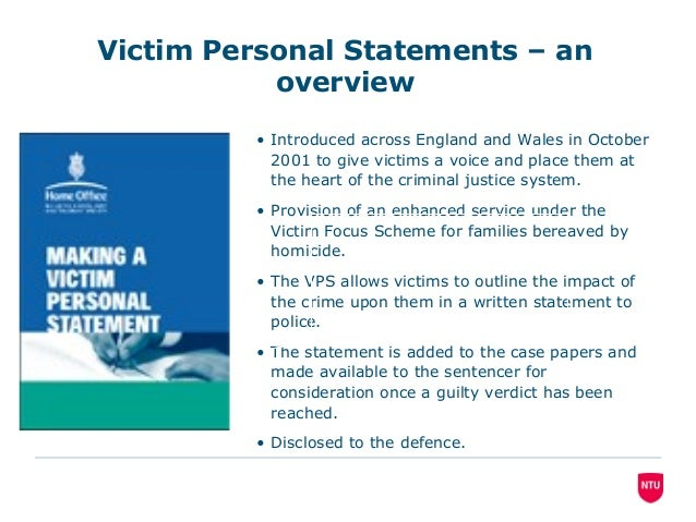 Using Victim Personal Statements To Inject Restorative Principles Int