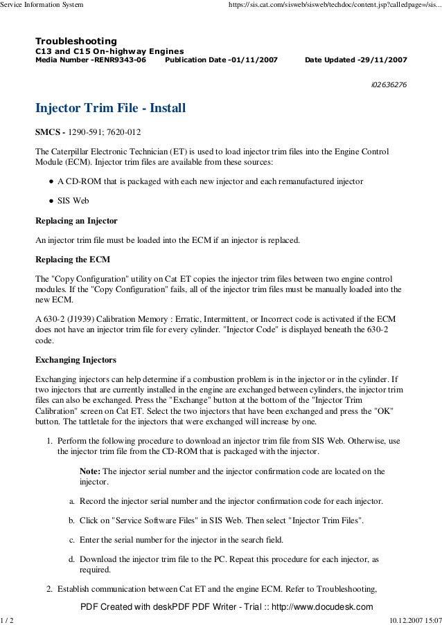 Injector trim file install smcs-1290-591 i02636276