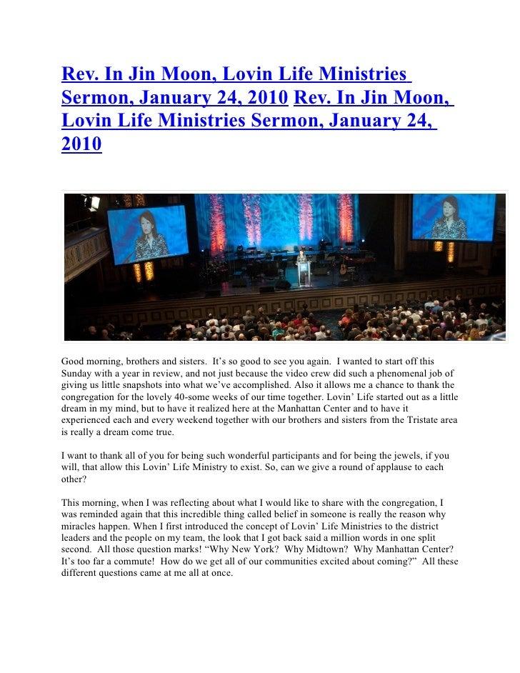 Rev. In Jin Moon, Lovin Life Ministries Sermon, January 24, 2010 Rev. In Jin Moon, Lovin Life Ministries Sermon, January 2...
