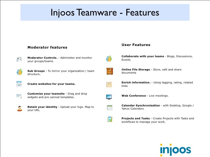 Injoos Teamware - Features                                                     User Features Moderator features           ...