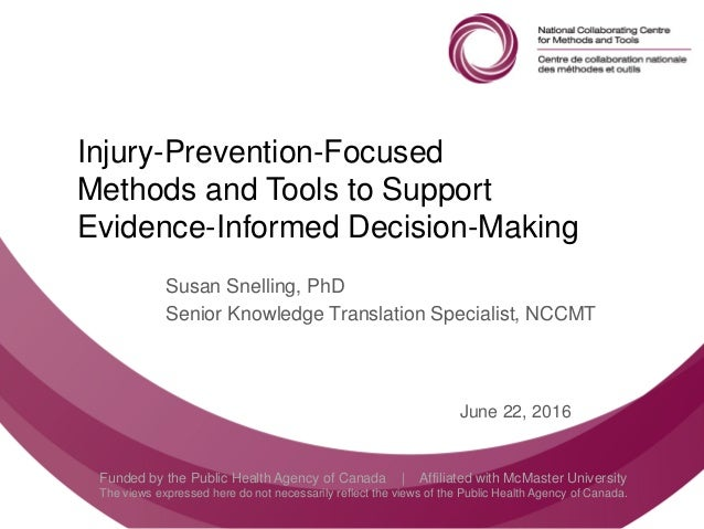 Follow us @nccmt Suivez-nous @ccnmo Funded by the Public Health Agency of Canada | Affiliated with McMaster University The...