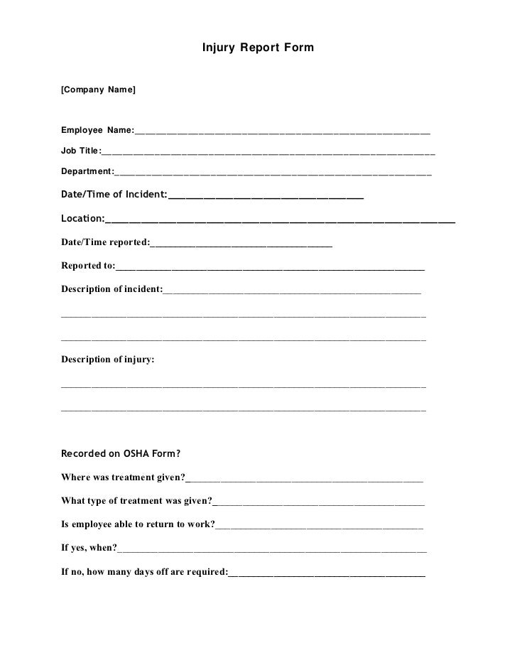 fire incident report form template - injury report form