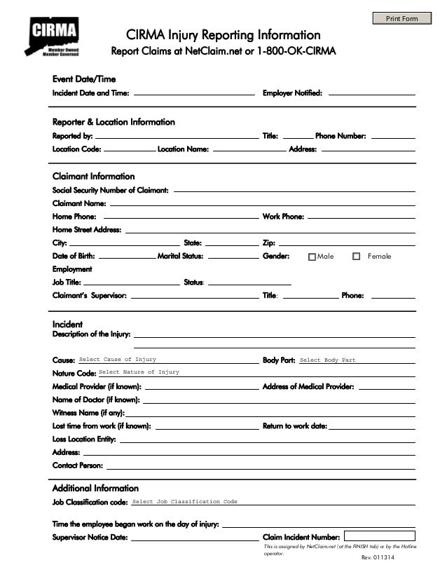 injury reporting form