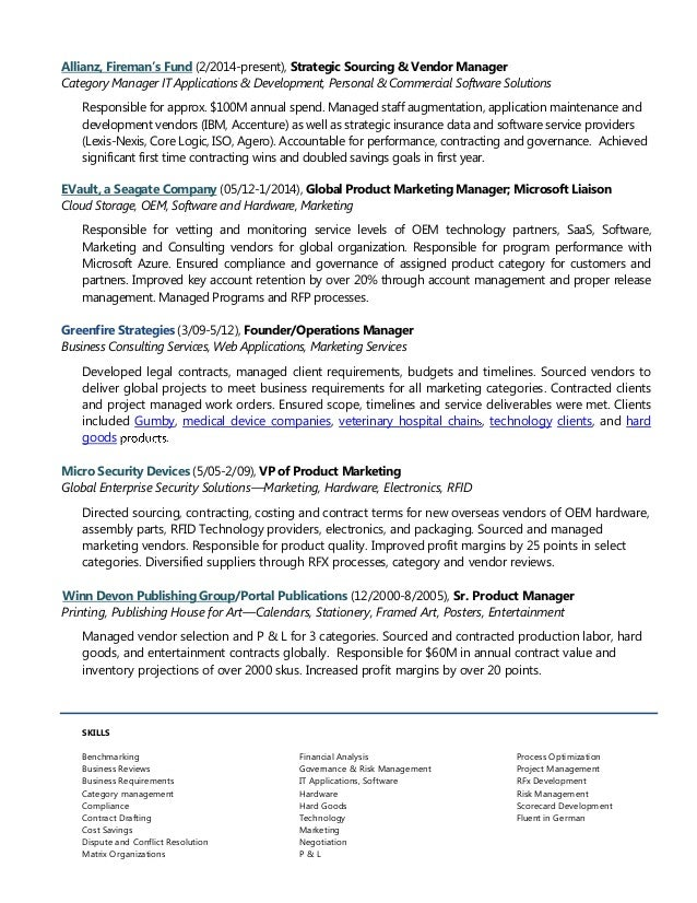 Inka traktman sourcing & vendor management resume