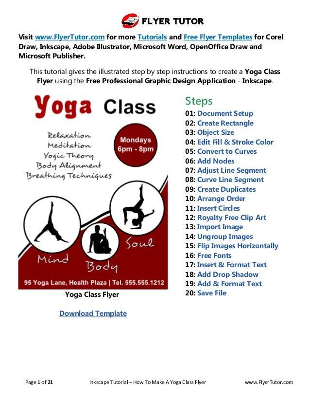 Flyer Tutor Page 1 Of 21 Inkscape Tutorial How To Make A Yoga Class