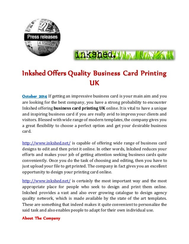 Inkshed offers quality business card printing uk inkshed offers quality business card printing uk october 2014 if getting an impressive business card is reheart Images
