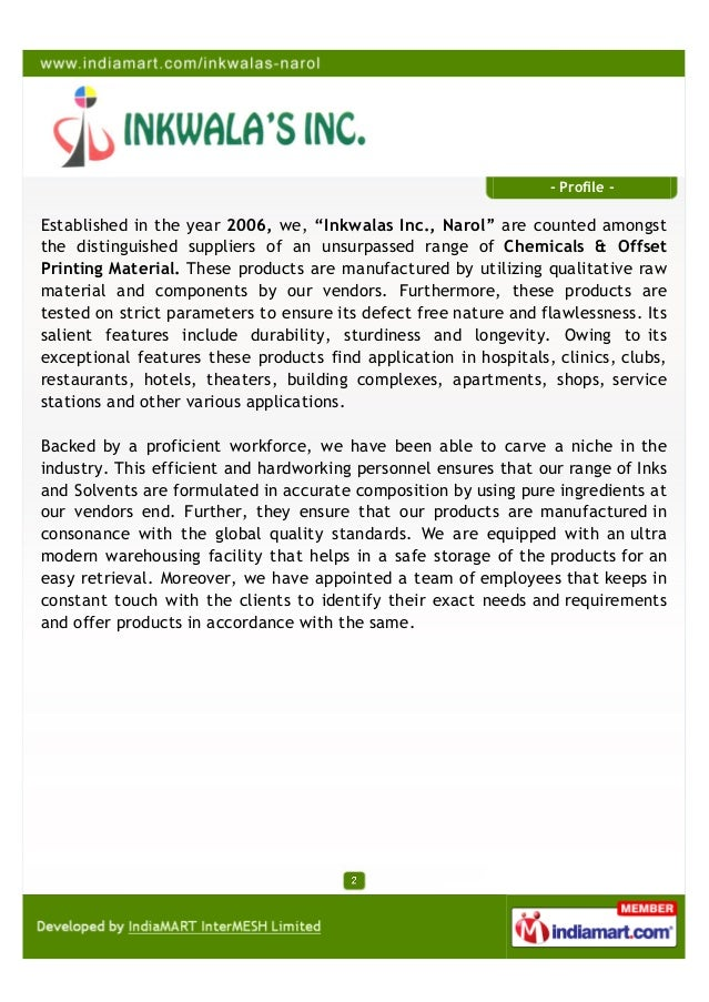 """- Profile -Established in the year 2006, we, """"Inkwalas Inc., Narol"""" are counted amongstthe distinguished suppliers of an u..."""