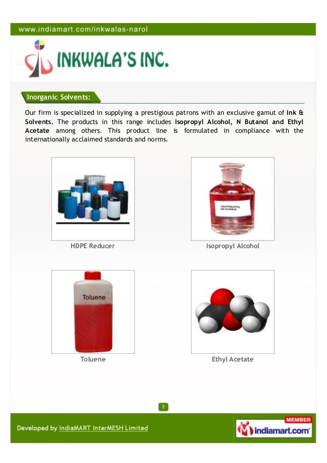 Inorganic Solvents:Our firm is specialized in supplying a prestigious patrons with an exclusive gamut of Ink &Solvents. Th...