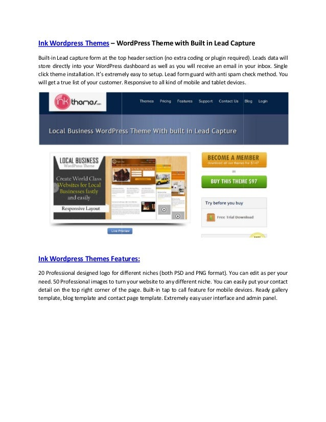 Ink Wordpress Themes – WordPress Theme with Built in Lead Capture Built-in Lead capture form at the top header section (no...