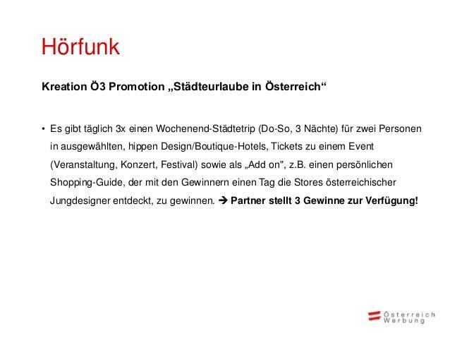 """HörfunkKreation Ö3 Promotion """"Städteurlaube in Österreich""""• Es gibt täglich 3x einen Wochenend-Städtetrip (Do-So, 3 Nächte..."""