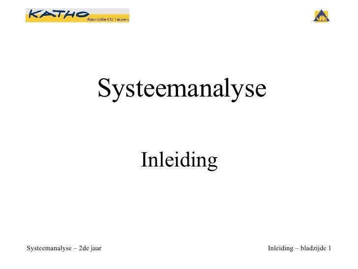 Systeemanalyse Inleiding