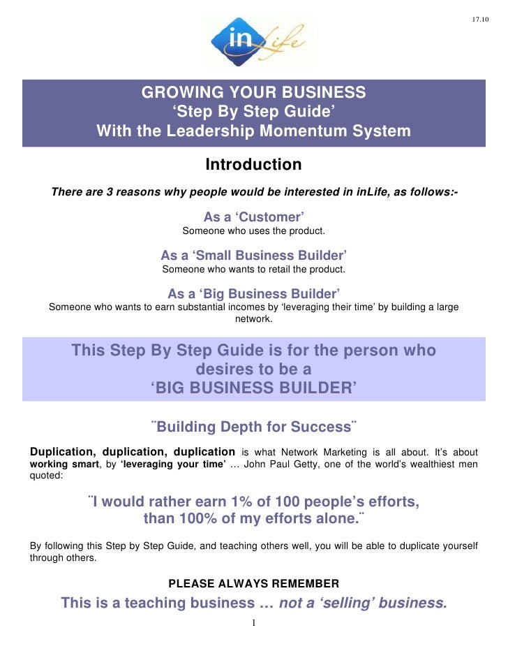 17.10                          GROWING YOUR BUSINESS                          'Step By Step Guide'                With the...