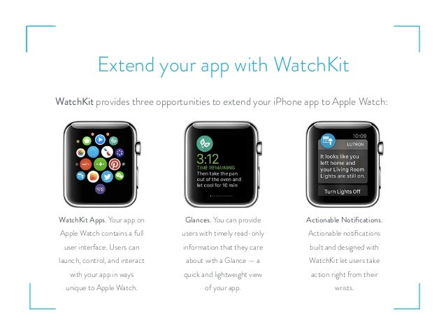 Extend your app with WatchKit WatchKit provides three opportunities to extend your iPhone app to Apple Watch: WatchKit App...