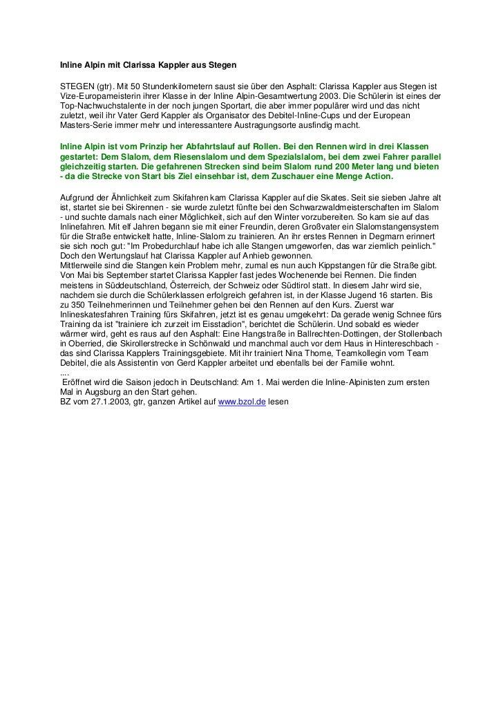Inline Alpin mit Clarissa Kappler aus Stegen<br />STEGEN (gtr). Mit 50 Stundenkilometern saust sie über den Asphalt: Clari...