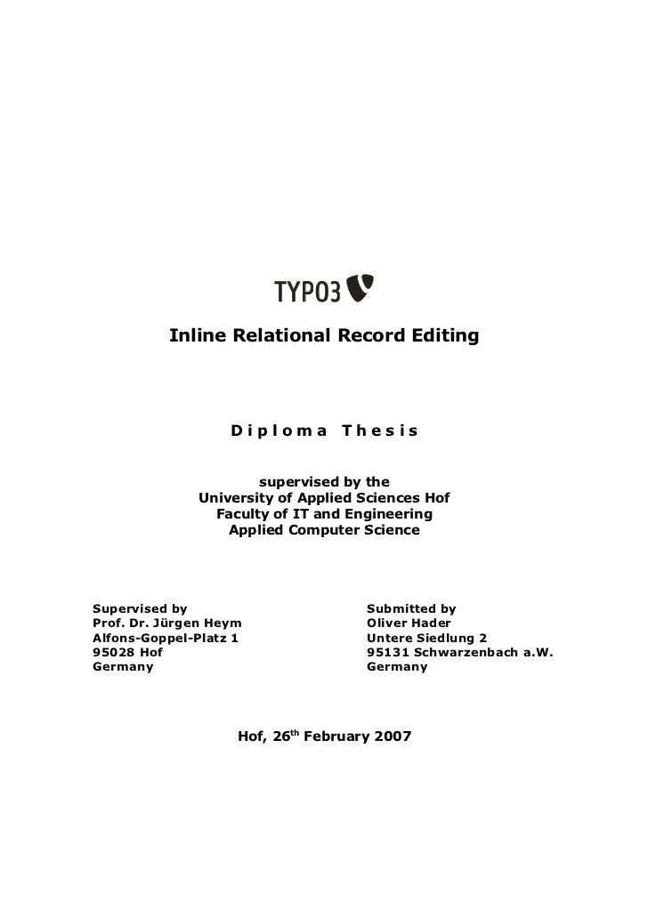 Inline Relational Record Editing                   Diploma Thesis                      supervised by the              Univ...