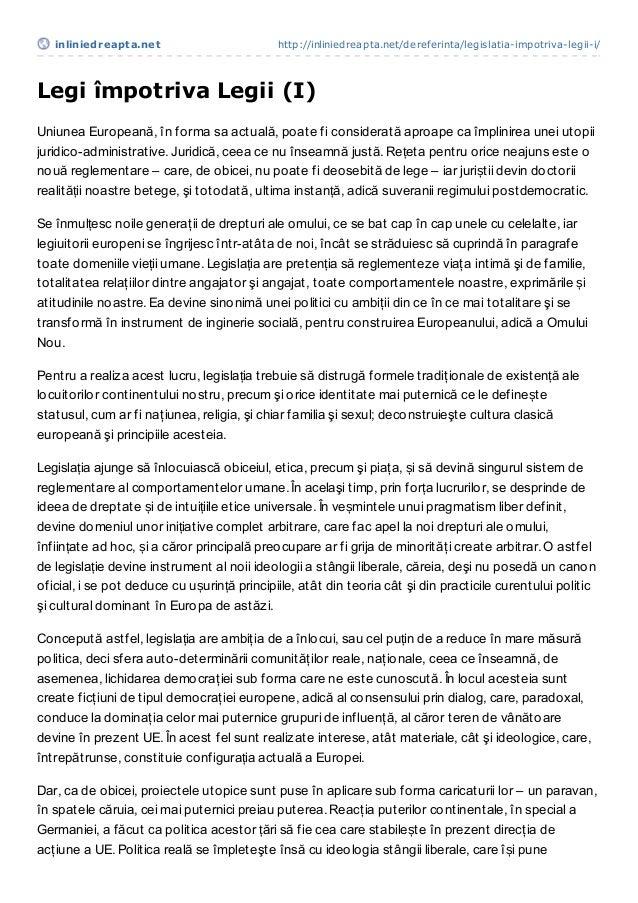 inliniedreapt a.net                        http://inliniedreapta.net/dereferinta/legislatia-impotriva-legii-i/Legi împotri...