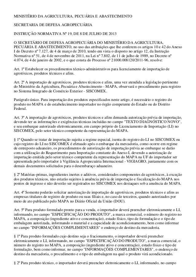 MINISTÉRIO DA AGRICULTURA, PECUÁRIA E ABASTECIMENTO SECRETARIA DE DEFESA AGROPECUÁRIA INSTRUÇÃO NORMATIVA Nº 19, DE 8 DE J...