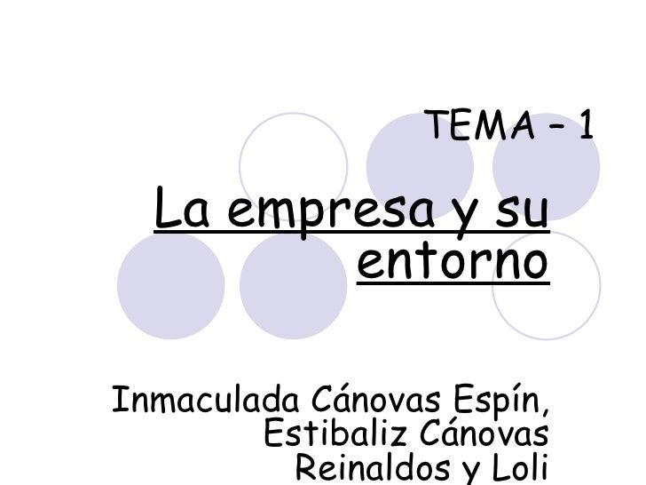 TEMA – 1 La empresa y su entorno Inmaculada Cánovas Espín, Estibaliz Cánovas Reinaldos y Loli Valenzuela Sáez.