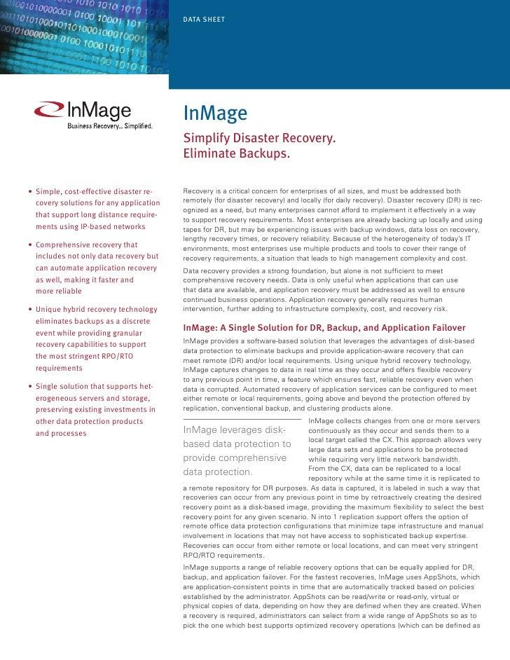 Data Sheet                                               InMage                                           Simplify Disaste...