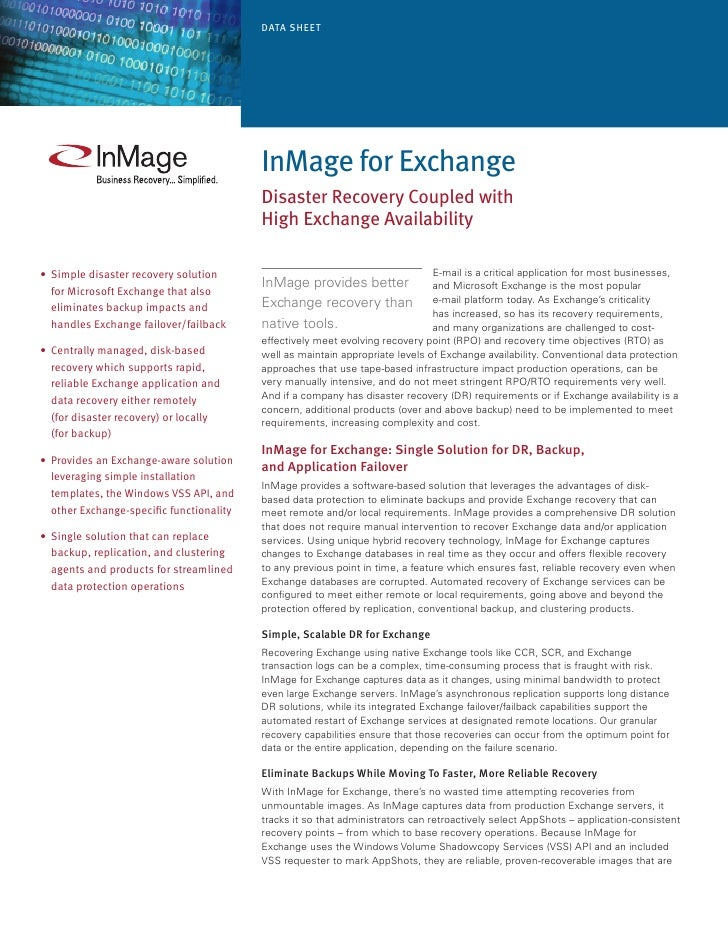 Data Sheet                                                InMage for exchange                                            D...
