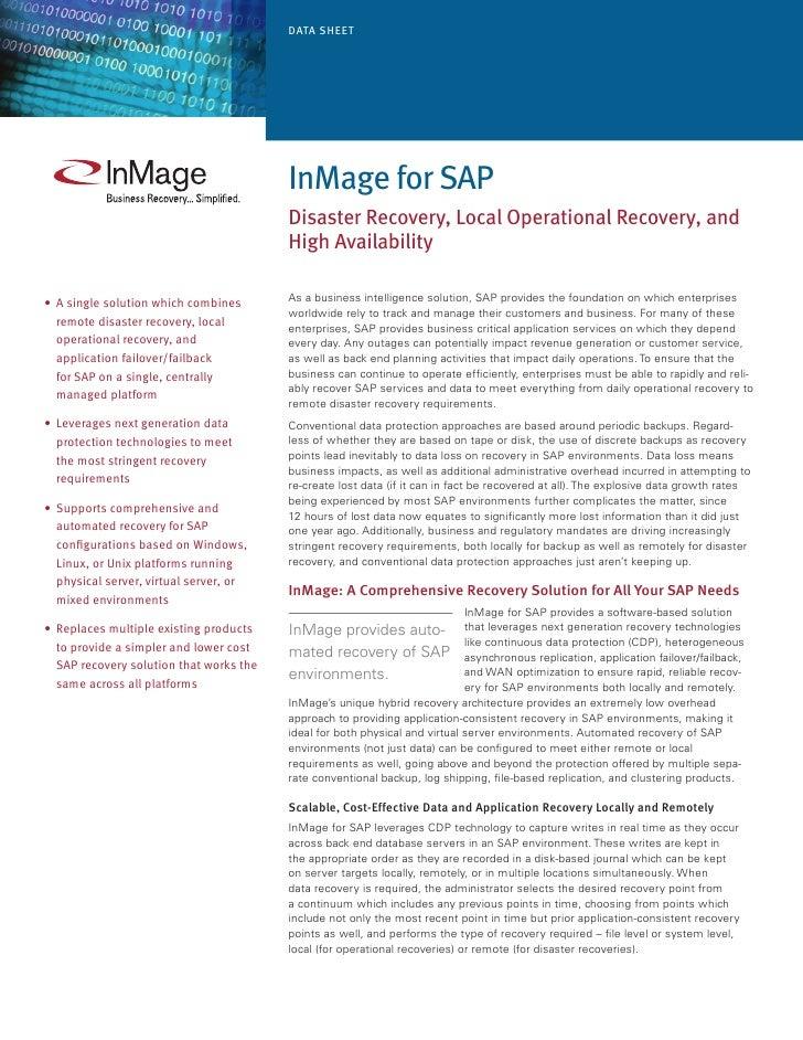 Data Sheet                                               InMage for SaP                                           Disaster...