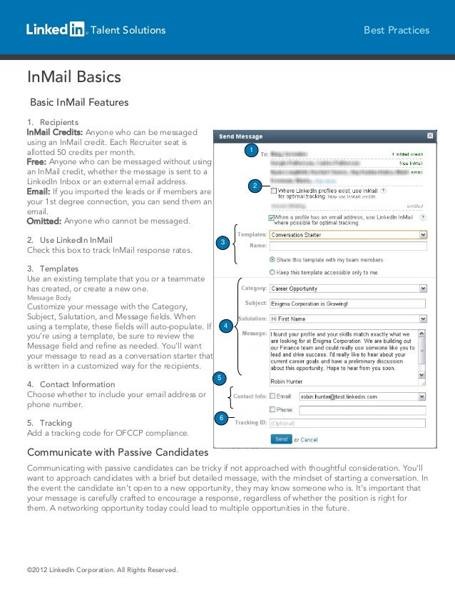 Talent Solutions                                                        Best PracticesInMail BasicsBasic InMail Features1....