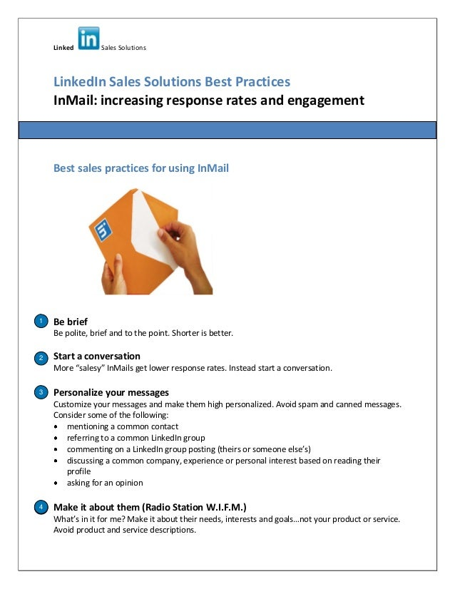 Linked Sales Solutions LinkedIn Sales Solutions Best Practices InMail: increasing response rates and engagement Best sales...