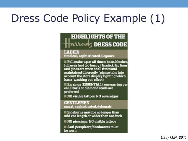 Dress code in the workplace policy