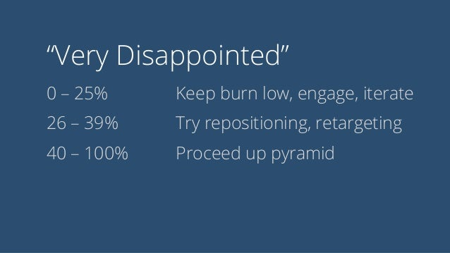 """""""Very Disappointed"""" 0 – 25% 26 – 39% 40 – 100% Keep burn low, engage, iterate Try repositioning, retargeting Proceed up py..."""