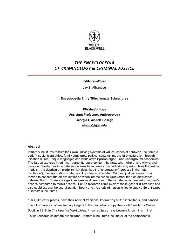THE ENCYCLOPEDIA                    OF CRIMINOLOGY & CRIMINAL JUSTICE                                          Editor-in-C...