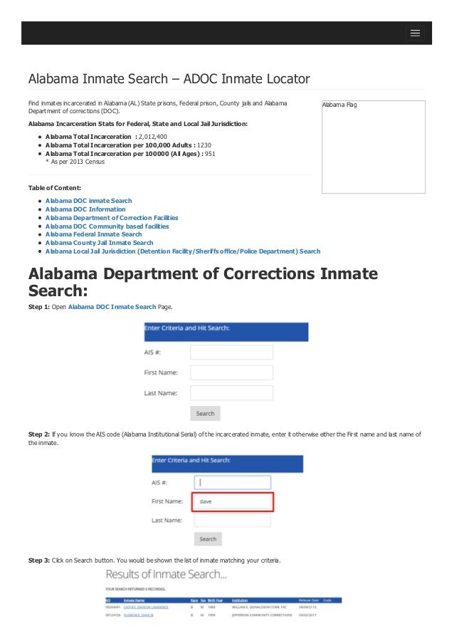- Alabama Dept of Corrections