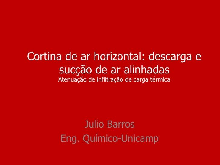Cortina de ar horizontal: descarga e       sucção de ar alinhadas      Atenuação de infiltração de carga térmica          ...
