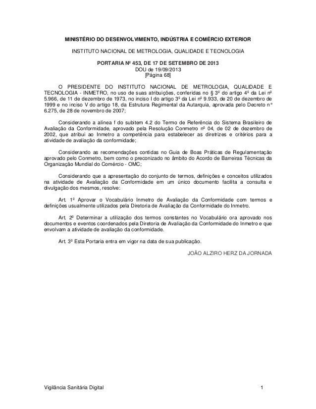 MINISTÉRIO DO DESENVOLVIMENTO, INDÚSTRIA E COMÉRCIO EXTERIOR INSTITUTO NACIONAL DE METROLOGIA, QUALIDADE E TECNOLOGIA PORT...