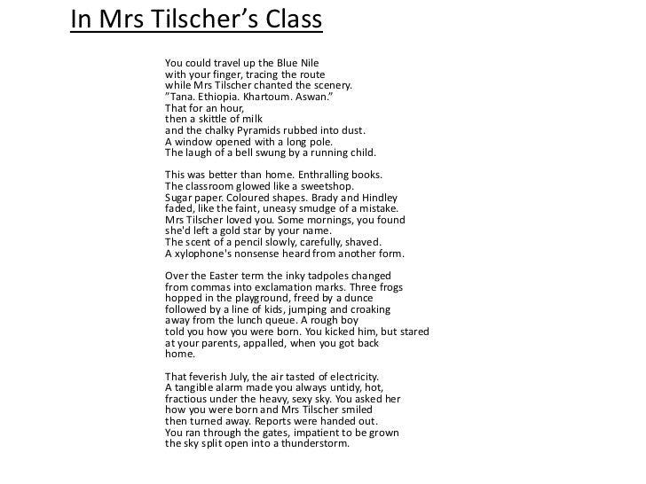 in mrs tilschers class higher essay