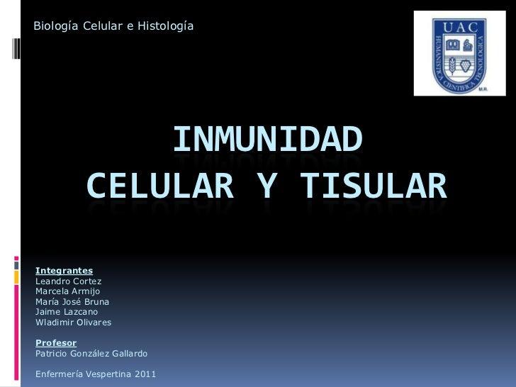 Biología Celular e Histología               INMUNIDAD           CELULAR Y TISULARIntegrantesLeandro CortezMarcela ArmijoMa...