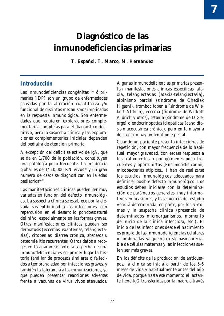 7                        Diagnóstico de las                   inmunodeficiencias primarias                             T. ...