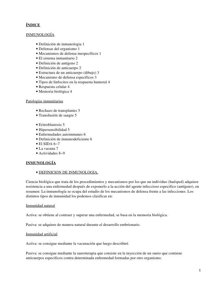 ÍNDICEINMUNOLOGÍA      • Definición de inmunologia 1      • Defensas del organismo 1      • Mecanismos de defensa inespecí...