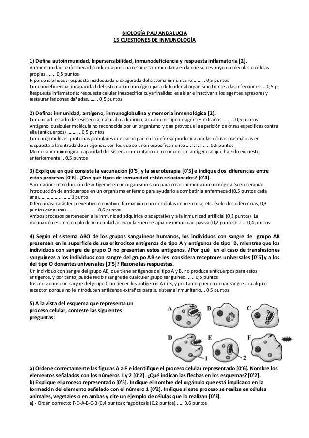 BIOLOGÍA PAU ANDALUCIA15 CUESTIONES DE INMUNOLOGÍA1) Defina autoinmunidad, hipersensibilidad, inmunodeficiencia y respuest...