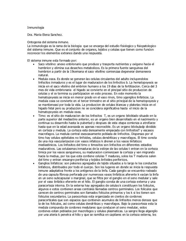 InmunologiaDra. Maria Elena Sanchez.Ontogenia del sistema inmune.La inmunologia es la rama de la biologia que se encarga d...