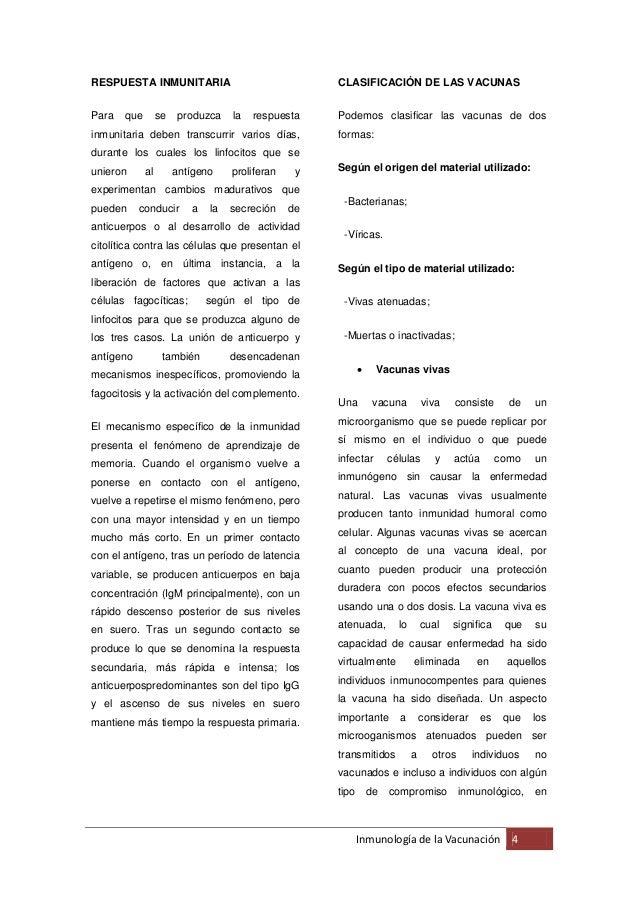 RESPUESTA INMUNITARIA                                CLASIFICACIÓN DE LAS VACUNASPara   que        se    produzca   la   r...