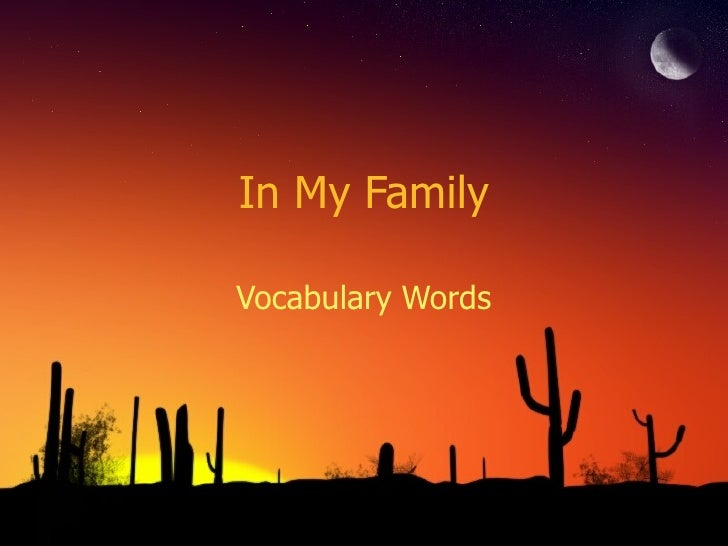 In My Family Vocabulary Words