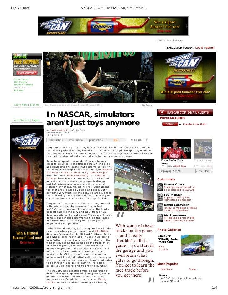 11/17/2009                                                   NASCAR.COM - In NASCAR, simulators…                          ...