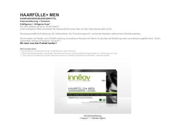 HAARFÜLLE+MEN NAHRUNGSERGÄNZUNGSMITTEL Haarverankerung+Volumen Kräftigeres+fülligeresHaar* ProJahrverlierenwi...