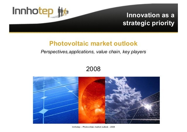 Innhotep – Photovoltaic market outlook - 2008 1 Innovation as a strategic priority Photovoltaic market outlook Perspective...