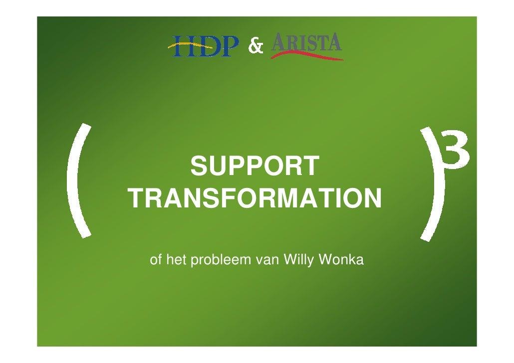 SUPPORT TRANSFORMATION   of het probleem van Willy Wonka