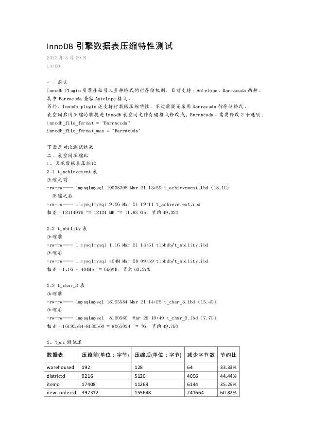 InnoDB 引擎数据表压缩特性测试 2012 年 3 月 29 日 14:00 一、前言 Innodb Plugin 引擎开始引入多种格式的行存储机制,目前支持:Antelope、Barracuda 两种。 其中 Barracuda 兼容 A...