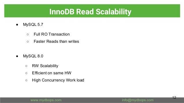 InnoDB Read Scalability ● MySQL 5.7 ○ Full RO Transaction ○ Faster Reads than writes ● MySQL 8.0 ○ RW Scalability ○ Effici...