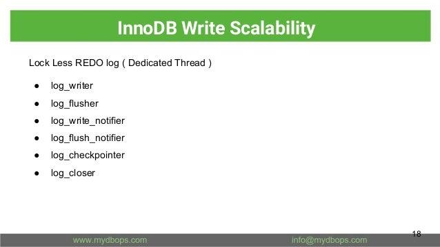 InnoDB Write Scalability Lock Less REDO log ( Dedicated Thread ) ● log_writer ● log_flusher ● log_write_notifier ● log_flu...