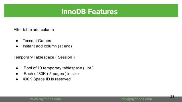 InnoDB Features Alter table add column ● Tencent Games ● Instant add column (at end) Temporary Tablespace ( Session ) ● Po...